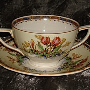 "SALE Crown Ducal "" Tulips "" Pattern:  Cream Soup & Saucer"