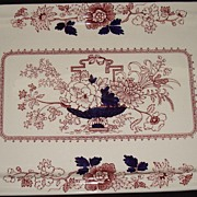 "SALE English Masons "" Brocade "" Pattern - Red & Blue Tray"