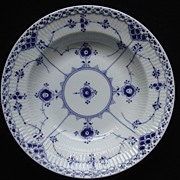 SALE Vintage Royal Copenhagen Blue Flute Pattern Full Lace Soup Bowl