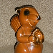 SALE Large Figural Squirrel With Nut - Pottery Bank