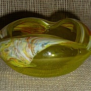 Murano Art Glass Yellow Art Glass Ash Tray