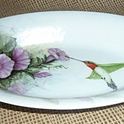 Hand Painted Porcelain Tray With Humming Bird