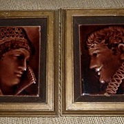 Pair of Antique Figural Tiles - Man & Woman