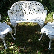 SALE Victorian Cast Iron Garden Set - 1 Bench - 2 Chairs