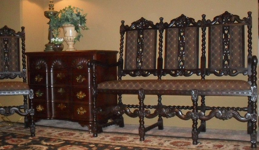 Ornate French Antique Barley Twist Settee & Chair from