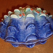 Vietri - Figural Sea Shell Box - Clam Shell - Blue - Italian