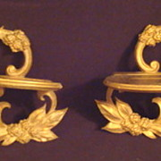 Pair of Vintage Gold Leaf  Plate Brackets