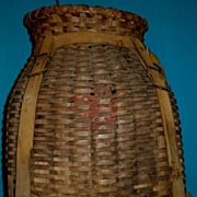 Early LL Bean Ice Fishing Basket and Poles