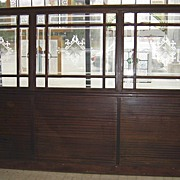 SALE Architectural Wood & Glass Antique Bar Wall Divider
