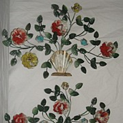 Shabby Chic Tole Painted Metal Art Wall Plaque
