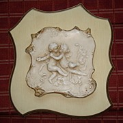 Vintage Syroco Wood Cherub Wall Plaque