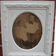 Early Photograph of Two Children In Wakefield Chair