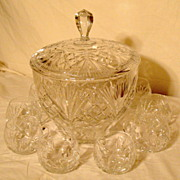 SALE Vintage German Brilliant Cut Crystal Punch Bowl and 10 Cups
