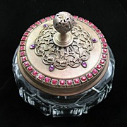 SALE Jeweled Vanity Powder Box