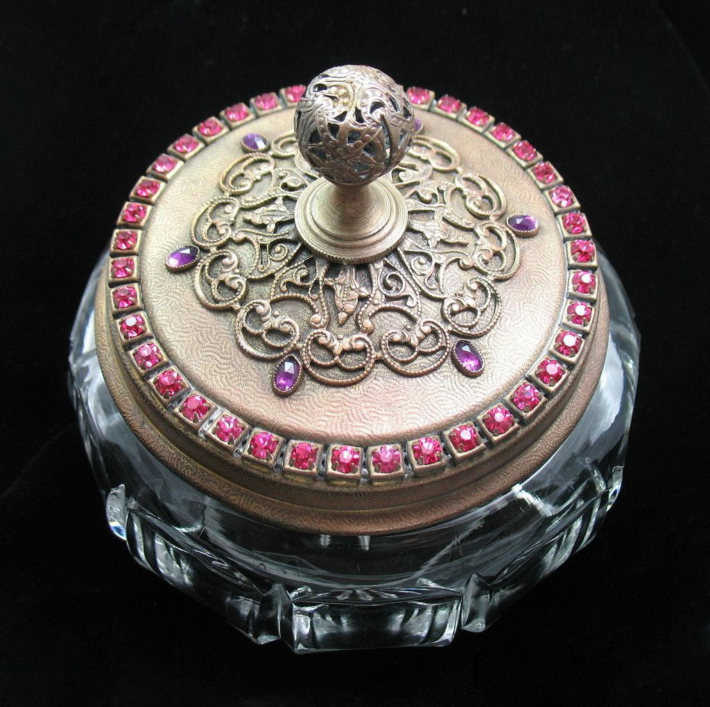 Jeweled Vanity Powder Box