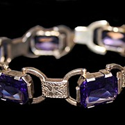 SALE Amethyst Bracelet With Gold Over 800 Silver