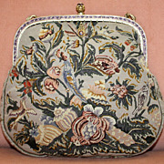 REDUCED Fine Petit Point Purse With Birds and Flowers and Enameled Frame