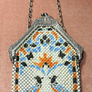 SALE c.1920's Mandalian Enamel Mesh Purse With Pheasant Birds