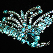 SALE Gorgeous c.1930's Aqua Faceted Glass Bird Brooch Pot Metal