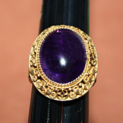 SOLD Chinese Amethyst and Gilt Sterling Ring