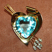 SALE Beautiful Coro Gold Over Sterling Heart Brooch With Aqua Faceted Glass Heart