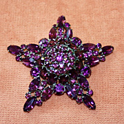 Large and Fabulous Purple Rhinestone Pin Pendant