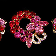 SALE Weiss Pin and Earring Set Red, Pink and Fuchsia
