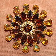 Gorgeous Large Topaz and Amber Faceted Glass Pin