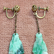 c.1920's Chinese Jade Figural Earrings