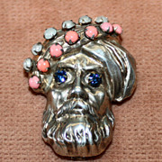REDUCED Sterling Figural Pin with Jeweled Turban and Eyes
