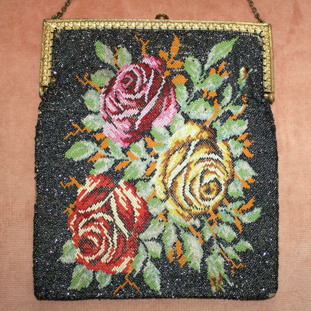 Gorgeous 1920's Floral Glass Beaded Purse