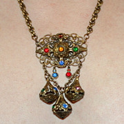 REDUCED Gorgeous c1920/30's Necklace Chunky Ornate With Multi Color Faceted Glass Stone