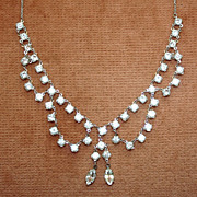 SALE Lovely Clear Crystal Necklace Rhodium Plated