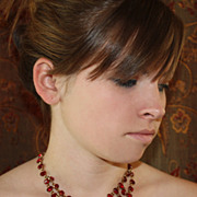 REDUCED Fabulous Garnet Red Faceted Glass Bib Necklace