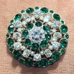 c.1950's Large Clear and Green Rhinestone Pin Brooch