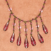 REDUCED Lovely c.1920 Purple Glass Bead Necklace