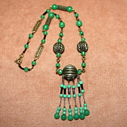 SALE Art Deco Necklace Green Glass Beads and Brass Round & Tube Beads