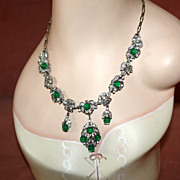 SALE Gorgeous Emerald Green Glass Cabochon and Rhinestone Necklace