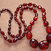 Cherry Amber Long Beautiful Faceted Strand