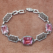 SALE c.1920's Art Deco Chromium Filigree Bracelet With Pink Stones
