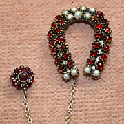 SALE Antique Garnet and Pearl Horseshoe Pin
