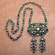 SOLD Antique Austro-Hungarian Silver Gilt Necklace with Pearls and Emerald Green Stones