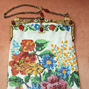 c.1920's Large Floral Design Micro Bead Purse with Jeweled Frame