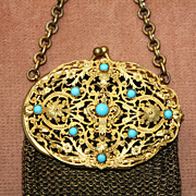 SALE Antique Chatelaine Purse with Jeweled Top