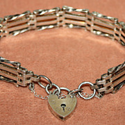 Sterling Gate Link Bracelet Heart Lock English Hallmark