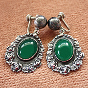 Vintage Sterling Earrings with Chrysoprase Cabochons Hecho en Mexico CVL