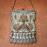 SALE c.1920's Whiting and Davis Enameled Beadlite Mesh Purse