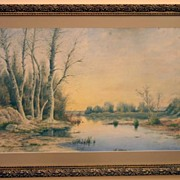 REDUCED 1900 - Barbizon school watercolor