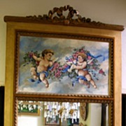 REDUCED 19th century - French painted and gilt wood trumeau mirror