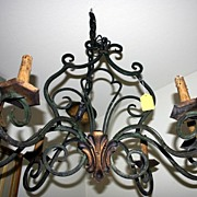 REDUCED 19th century - French wrought iron chandelier